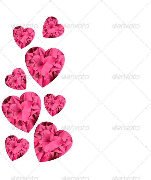 Ruby Gemstone Hearts