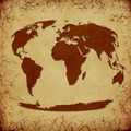 Vintage World Map on Cracked Grunge Background - PhotoDune Item for Sale