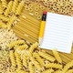 Pasta and blank paper for recipe - PhotoDune Item for Sale