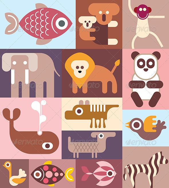 GraphicRiver Zoo Animals Collage 8135194