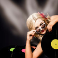 Music DJ girl holding audio vinyl record - PhotoDune Item for Sale