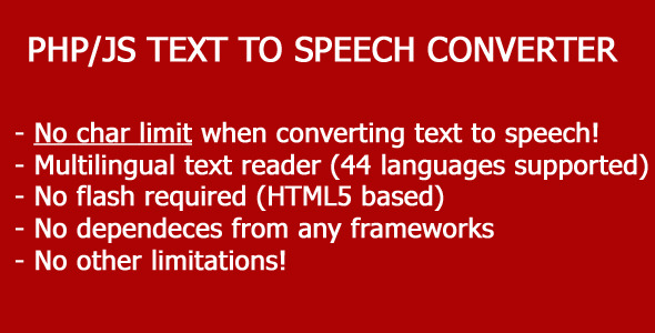 CodeCanyon Text-To-Speech PHP JS script converter 8070020