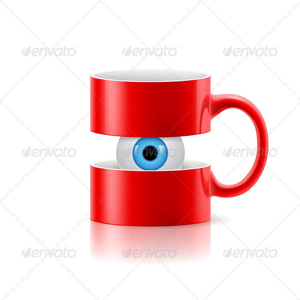 GraphicRiver Red Mug of Two Parts with an Eye Inside 8135806