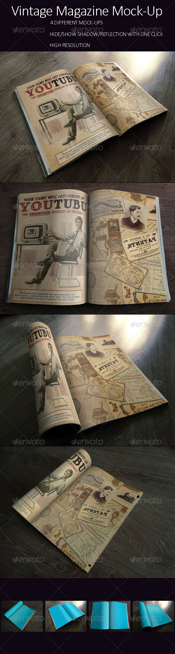 GraphicRiver Photorealistic Vintage Brochure Magazine Mock-up 8122514