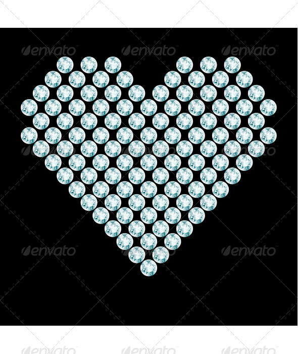 GraphicRiver Heart Composition Made of Diamonds 8136060