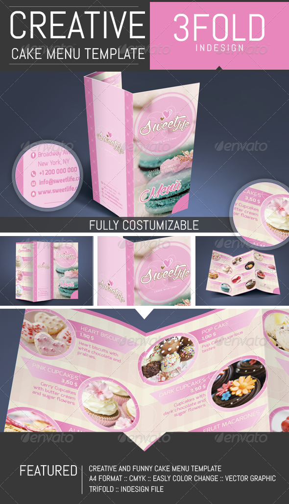 GraphicRiver Cake Cupcake Pastry Menu Template 8136116