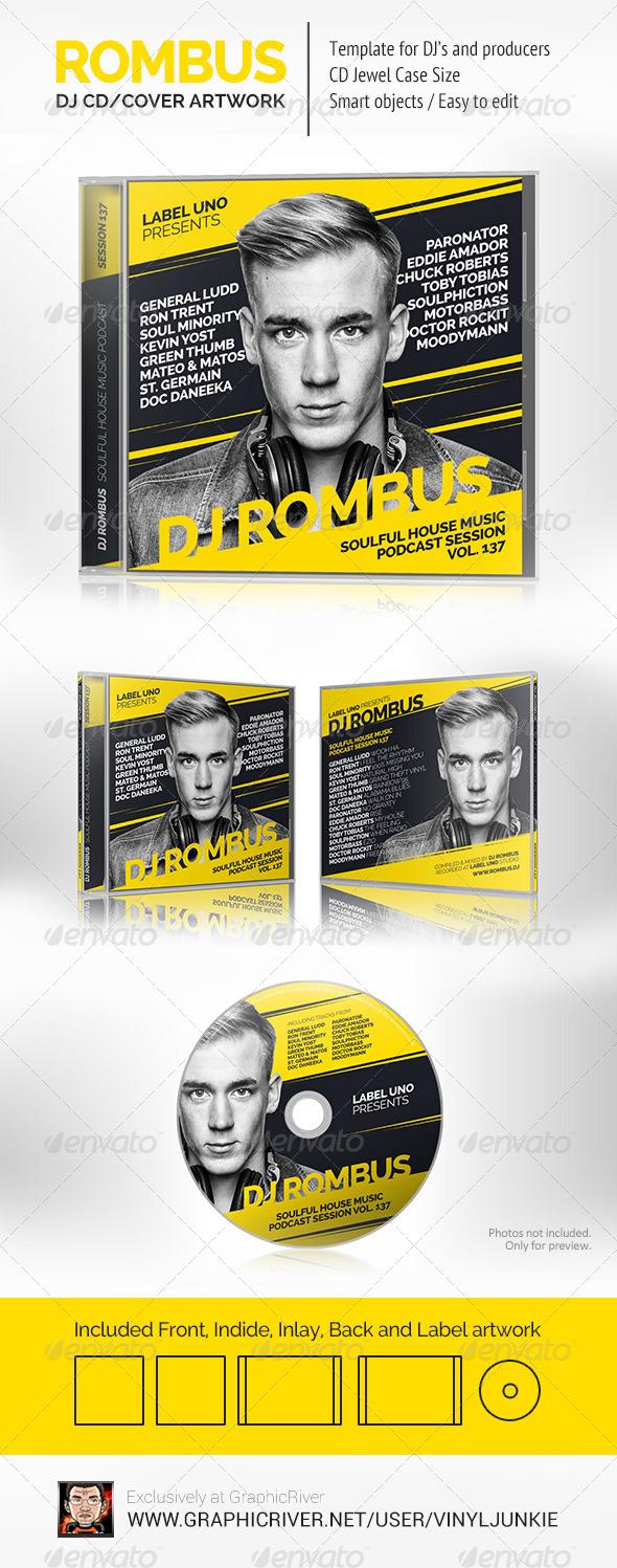 GraphicRiver Rombus DJ Mix CD Cover Artwork PSD 8136314