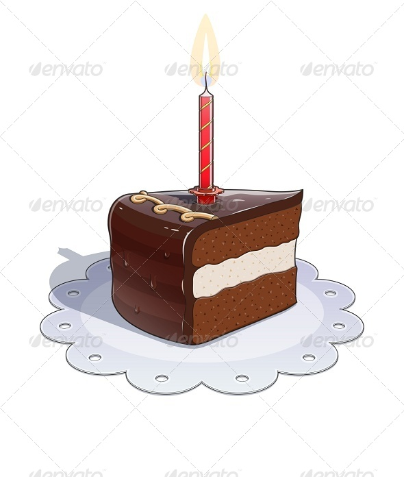 GraphicRiver Piece of Chocolate Cake with Candle 8136358