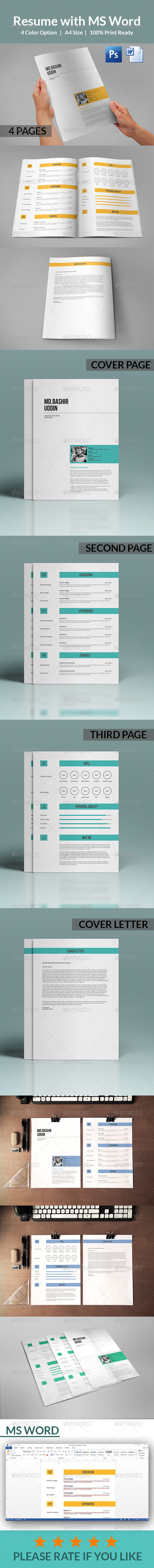 GraphicRiver Resume with MS Word 8136891