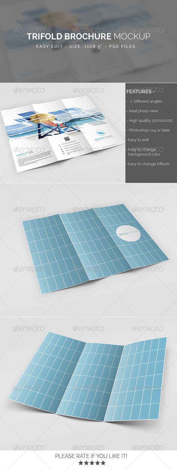 GraphicRiver Trifold Brochure Mockup 8136906