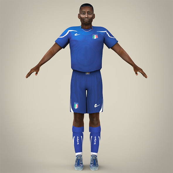 Blue Uniformed Football Player - 3DOcean Item for Sale
