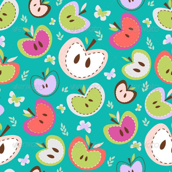 GraphicRiver Retro Apples Seamless Background 8137641