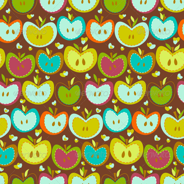 GraphicRiver Seamless Pattern With Vintage Apples 8137649