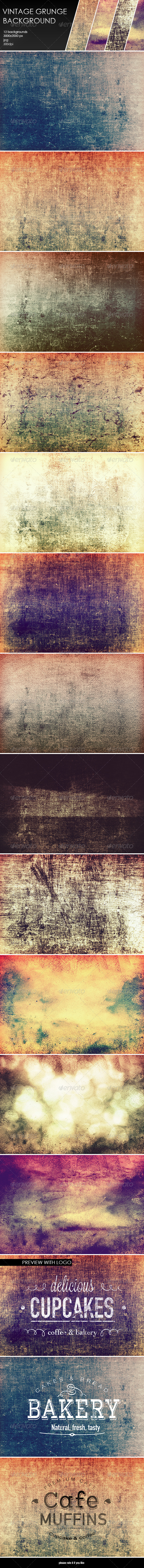 GraphicRiver 12 Vintage Grunge Backgrounds 8137692
