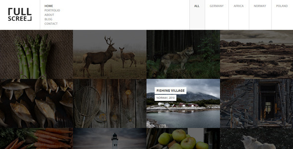 ThemeForest FULLSCREEN Photography Portfolio WordPress Theme 8137706