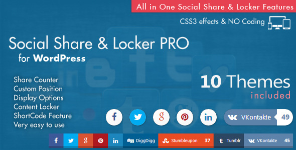 CodeCanyon Social Share & Locker Pro Wordpress Plugin 8137709