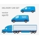 Three Blue Delivery Cars Isolated View on White - GraphicRiver Item for Sale