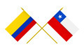 Flags of Chile and Colombia, 3d Render, Isolated on White - PhotoDune Item for Sale