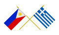 Flags of Philippines and Greece, 3d Render, Isolated on White - PhotoDune Item for Sale