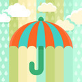 Umbrella and rain - illustration in flat style - PhotoDune Item for Sale