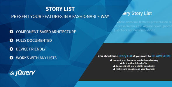 CodeCanyon Story List Your Features Made Awesome 8137997