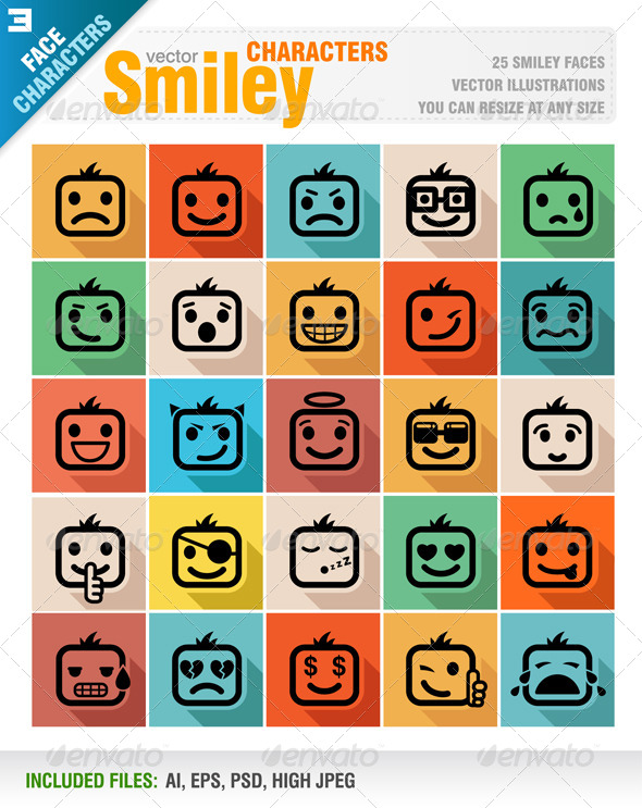 GraphicRiver Smiley Faces Icon Set 8138604
