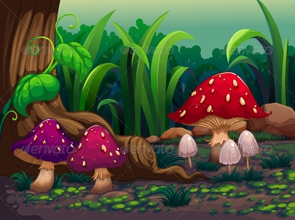GraphicRiver Giant mushrooms in the forest 8138924
