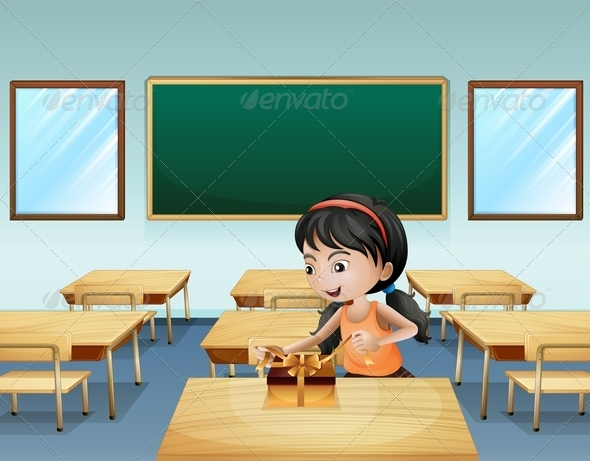 GraphicRiver A little girl wrapping a present 8138928