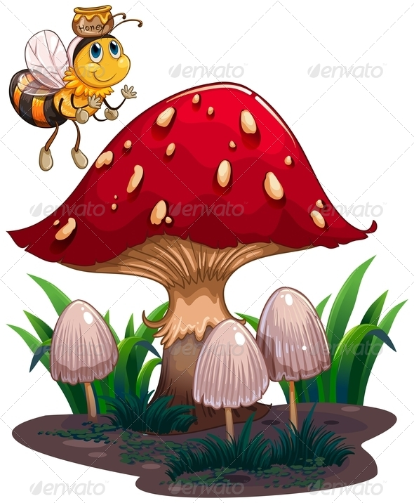 GraphicRiver A bee with a honey flying near the red mushroom 8138931