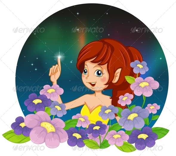 GraphicRiver Fairy and the flowers 8138935