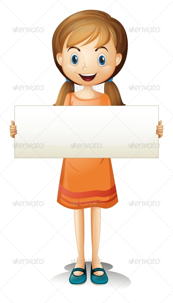 GraphicRiver Girl Holding Empty Banner 8138940