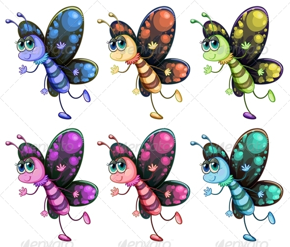 GraphicRiver Six colorful butterflies 8138998