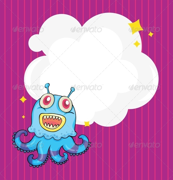 GraphicRiver Stationery with an alien octopus 8139033