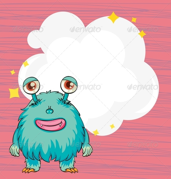 GraphicRiver Stationery with a blue hairy monster 8139048