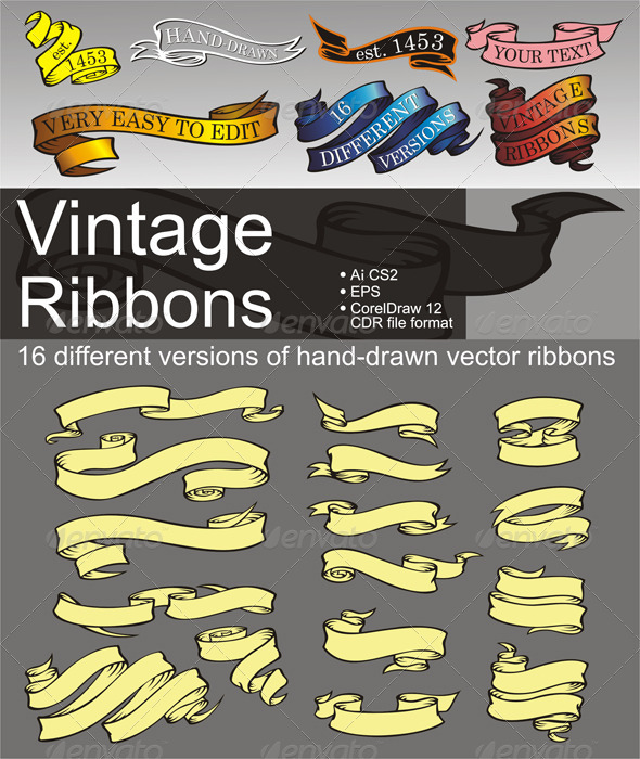 GraphicRiver 16 Vintage Ribbons 834062