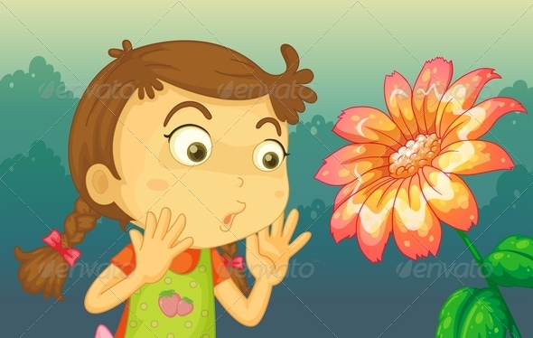 GraphicRiver Girl with giant flower 8139078