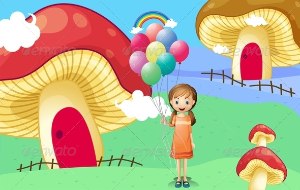 GraphicRiver Girl with balloons by the mushroom houses 8139115