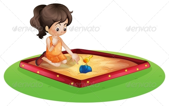 GraphicRiver Girl in the Sandpit 8139116