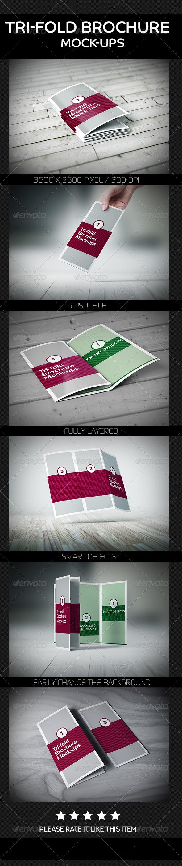 GraphicRiver Tri-Fold Brochure Mock-Ups 8123470