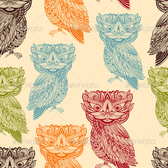 GraphicRiver Vector Seamless Pattern with Bright Owls 8140934