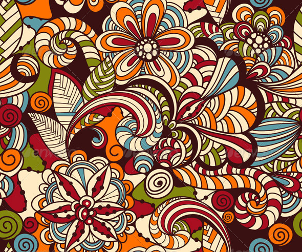 GraphicRiver Vector Seamless Doodle Floral Pattern 8140943