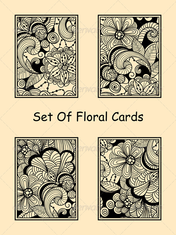 GraphicRiver Vector Seamless Doodle Floral Cards 8140959