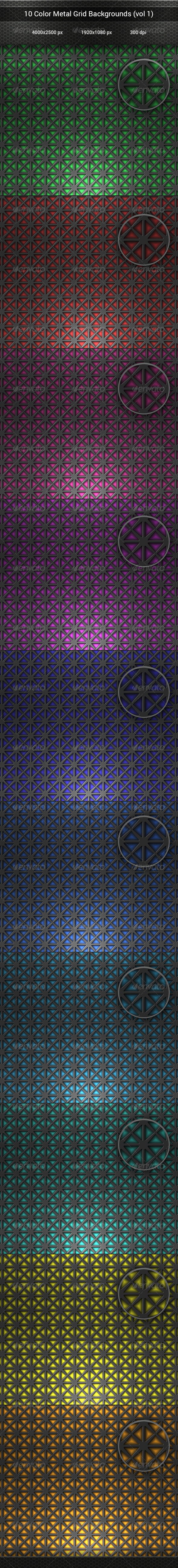 GraphicRiver 10 Color Metal Grid Backgrounds vol 1 8142216