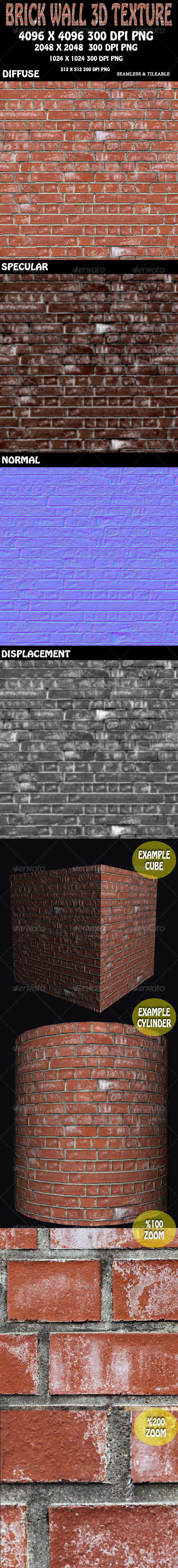 Brick Wall 3D Texture - 3DOcean Item for Sale
