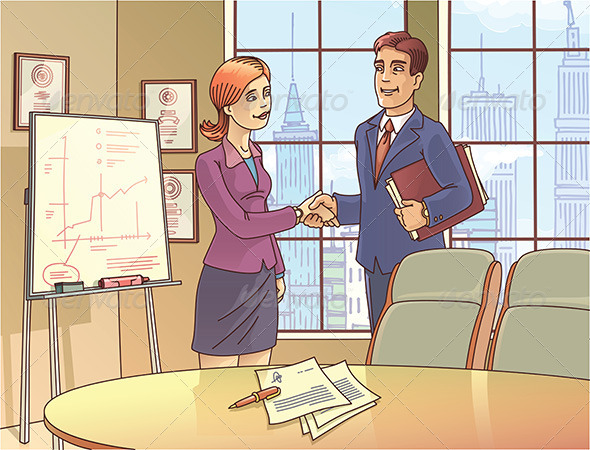 GraphicRiver Businesspeople are Shaking the Hands 8136323