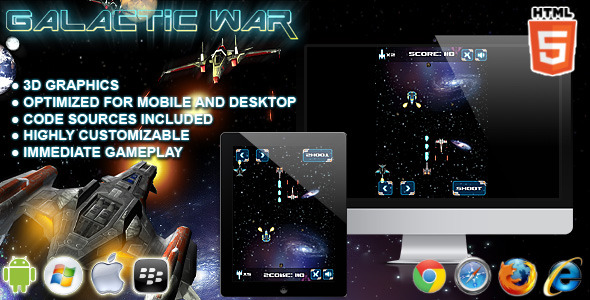 CodeCanyon Galactic War HTML5 Game 8142477