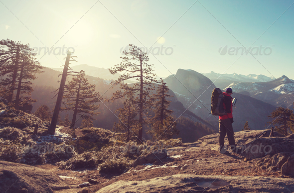 Hike in Yosemite - Stock Photo - Images