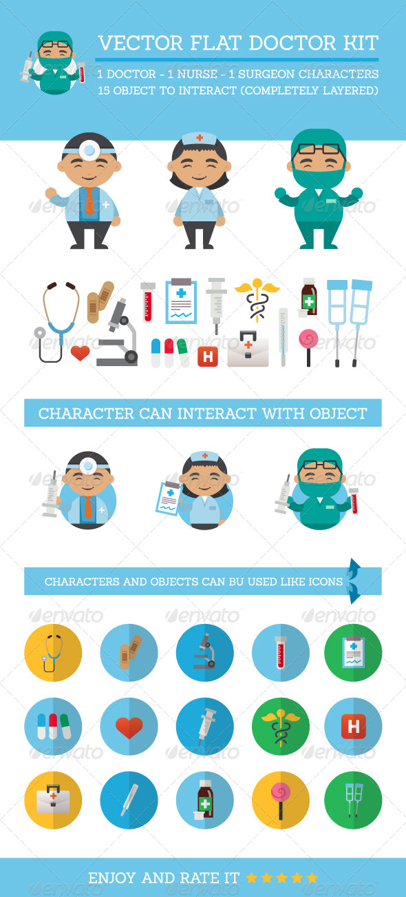 GraphicRiver Vector Flat Doctor Kit 8137723