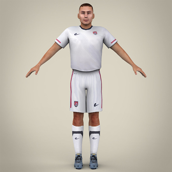 White Uniformed Football Player - 3DOcean Item for Sale