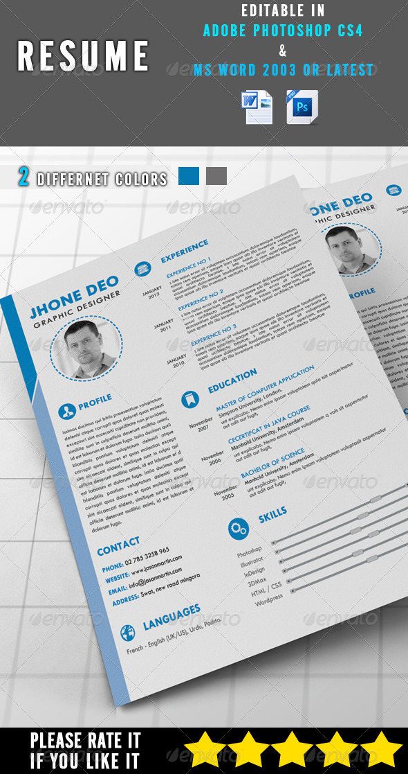 GraphicRiver Simple Resume 8143024